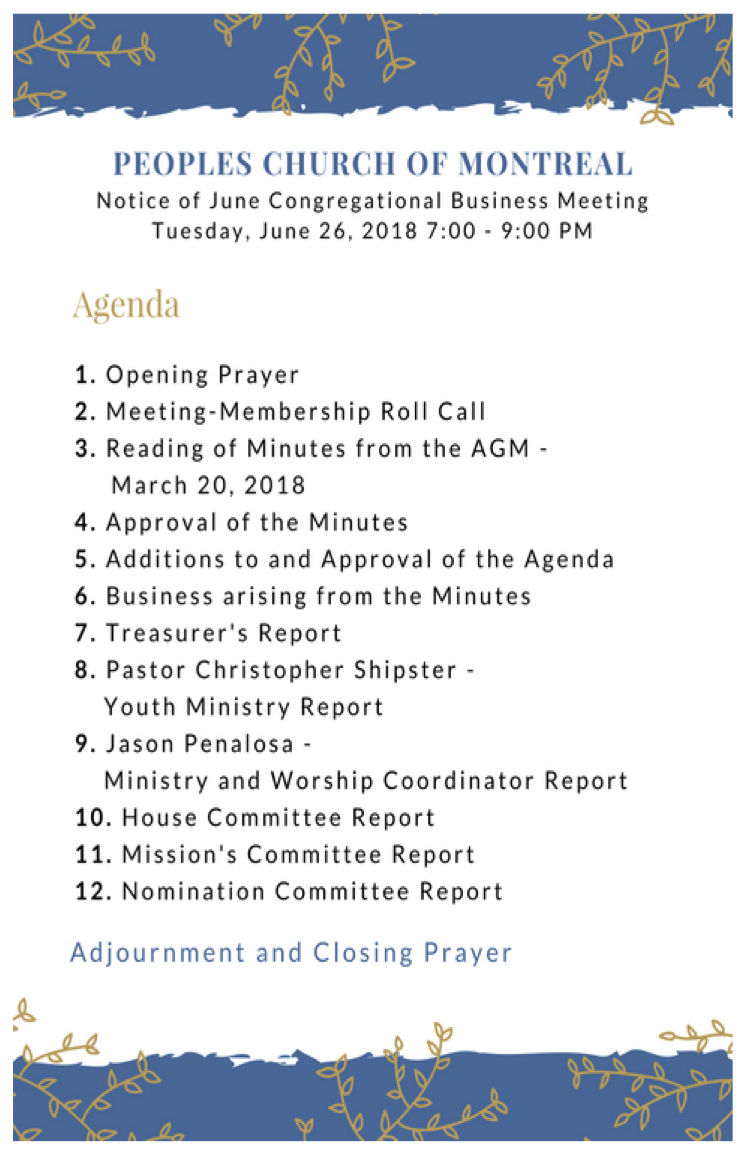 Congregational Meeting | Peoples Church of Montreal